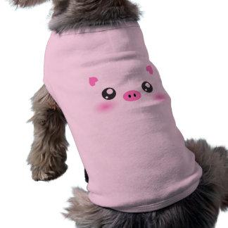 Cara linda del cerdo - minimalism del kawaii playera sin mangas para perro