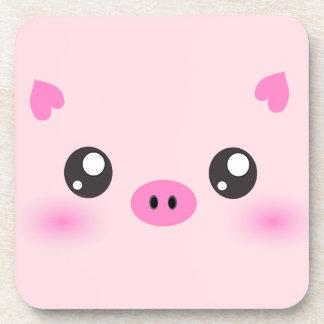 Cara linda del cerdo - minimalism del kawaii posavaso