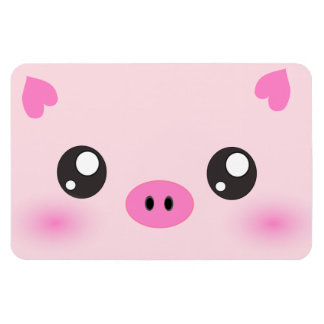 Cara linda del cerdo - minimalism del kawaii rectangle magnet