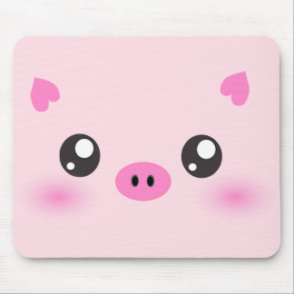 Cara linda del cerdo - minimalism del kawaii tapete de ratones