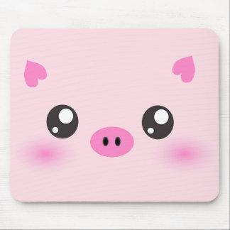 Cara linda del cerdo - minimalism del kawaii tapetes de raton