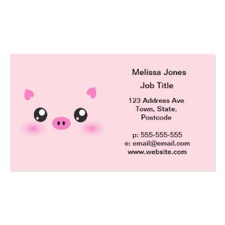 Cara linda del cerdo - minimalism del kawaii plantilla de tarjeta de negocio