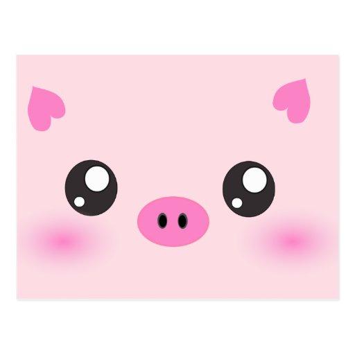 Cara linda del cerdo - minimalism del kawaii postales