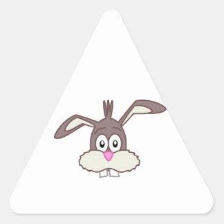 Cara linda del conejo de conejito colcomanias de triangulo personalizadas