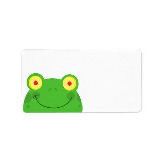 cara linda del froggy de la rana del dibujo animad etiquetas de dirección