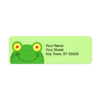 cara linda del froggy de la rana del dibujo animad etiqueta de remite