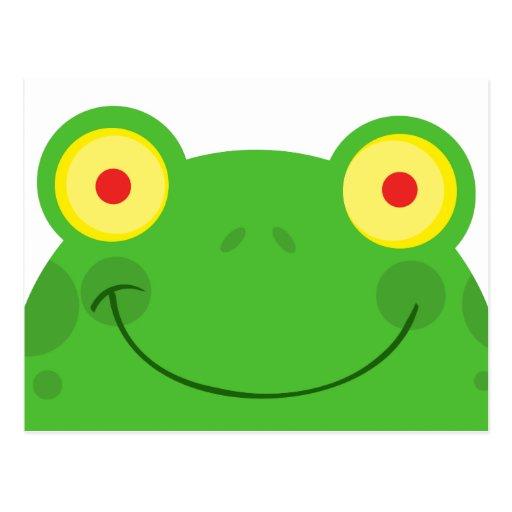 cara linda del froggy de la rana del dibujo postal