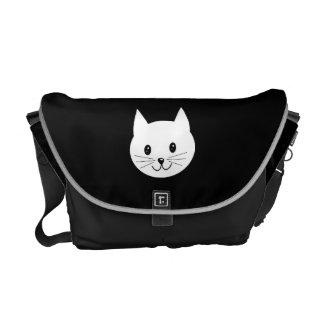 Cara linda del gato bolsas messenger