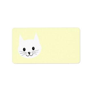 Cara linda del gato etiquetas de dirección
