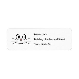 Cara linda del gato etiquetas de remite