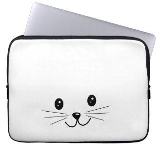 Cara linda del gato funda computadora