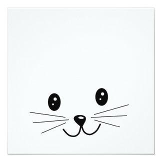 """Cara linda del gato invitación 5.25"""" x 5.25"""""""