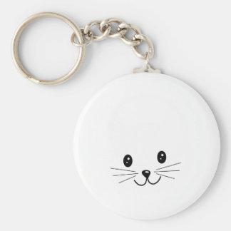 Cara linda del gato llavero redondo tipo pin