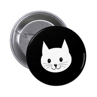 Cara linda del gato pin redondo de 2 pulgadas