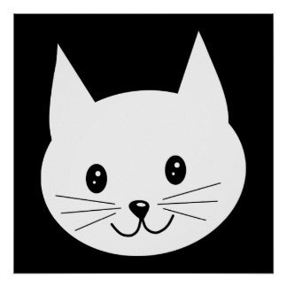 Cara linda del gato póster