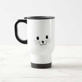 Cara linda del gato taza de café
