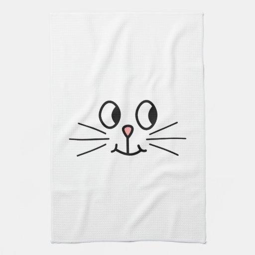 Cara linda del gato toalla de cocina