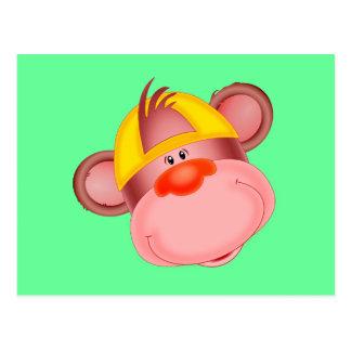 Cara linda del mono del dibujo animado postales