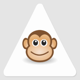 Cara linda del mono pegatina triangulo