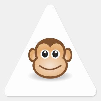 Cara linda del mono pegatina triangular