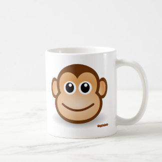 Cara linda del mono taza de café