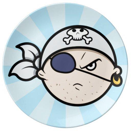 Cara linda del pirata del dibujo animado plato de cerámica