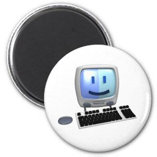 Cara linda del smiley del ordenador imán de frigorífico