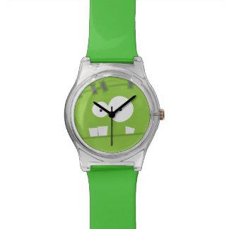 Cara linda del verde del monstruo de Halloween Fra Reloj De Mano