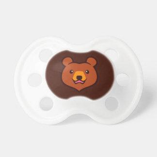 Cara linda minimalista del oso del grisáceo/de chupetes para bebes