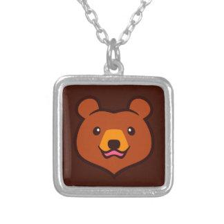 Cara linda minimalista del oso del grisáceo/de colgante cuadrado