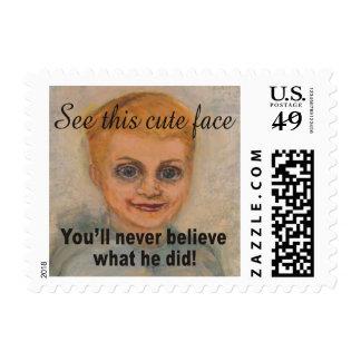 Cara linda usted nunca creerá lo que él lo hizo sello postal