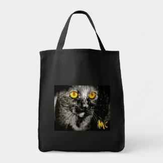 Cara llena del bolso de ultramarinos del gato del  bolsa tela para la compra