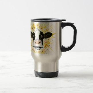 Cara loca de la vaca taza de viaje