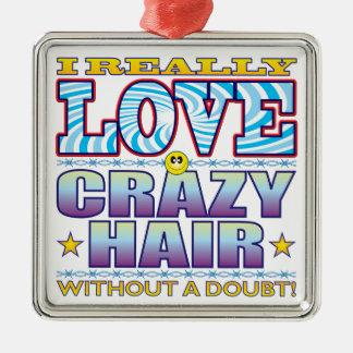 Cara loca del amor del pelo adorno navideño cuadrado de metal