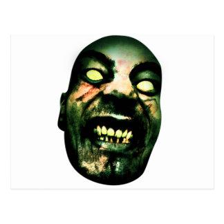 Cara loca del hombre del zombi tarjeta postal