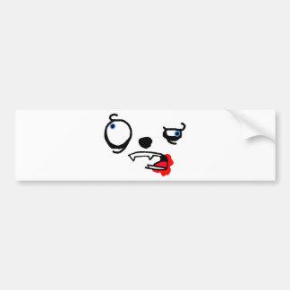 Cara loca manchada sangre de la criatura etiqueta de parachoque