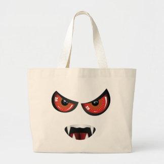 Cara malvada con los ojos rojos bolsa tela grande