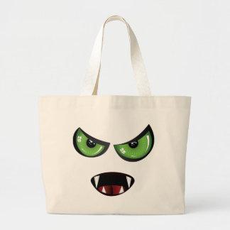 Cara malvada con los ojos verdes bolsa tela grande