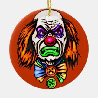 Cara malvada del payaso adorno de navidad