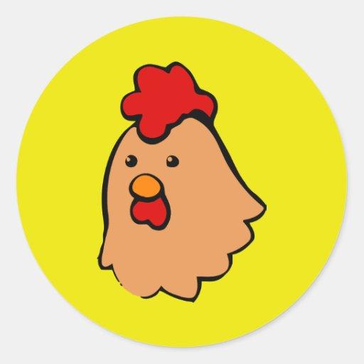 cara marrón del pollo de Toon Pegatina Redonda