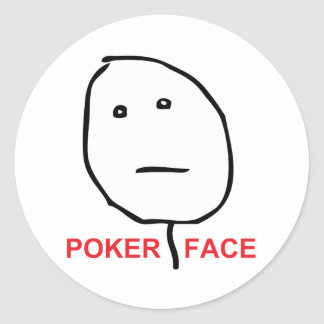 Cara Meme de la rabia de la cara de póker Etiquetas Redondas