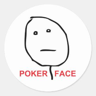 Cara Meme de la rabia de la cara de póker Pegatina Redonda
