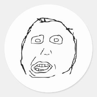 Cara Meme de la rabia del idiota de Herp Derp Pegatina Redonda