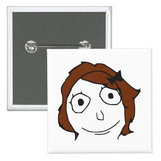Cara Meme de la rabia del pelo de Derpina Brown Pin