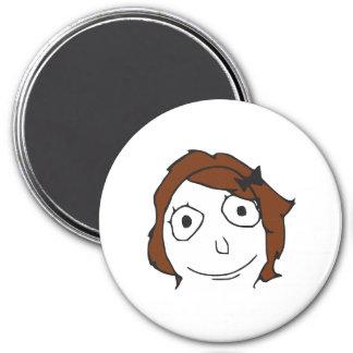 Cara Meme de la rabia del pelo de Derpina Brown Imán Redondo 7 Cm