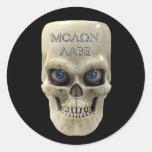 Cara Molon Labe del cráneo Pegatina Redonda