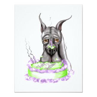 """Cara negra de la torta de cumpleaños de great dane invitación 4.25"""" x 5.5"""""""