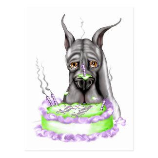 Cara negra de la torta de cumpleaños de great dane tarjetas postales