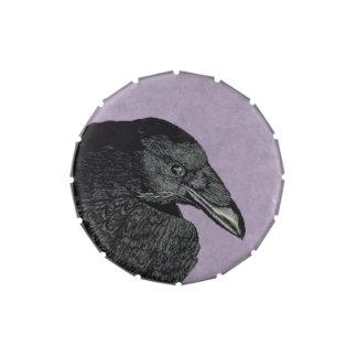 Cara negra fantasmagórica del cuervo del cuervo latas de caramelos