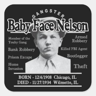 Cara Nelson del bebé del gángster Pegatina Cuadrada